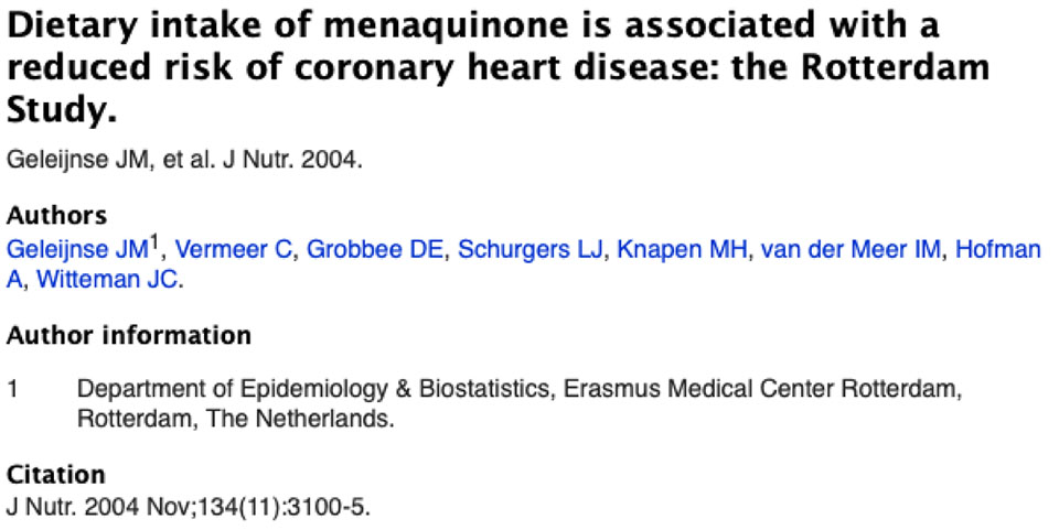 Dietary intake of menaquinone is associated with a reduced risk of coronary heart disease